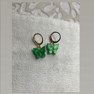 NEW Emerald green butterfly earrings